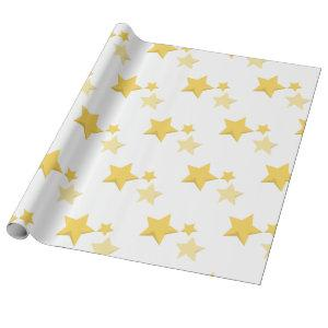 Celestial Yellow Cute Stars Baby Shower Wrapping Paper