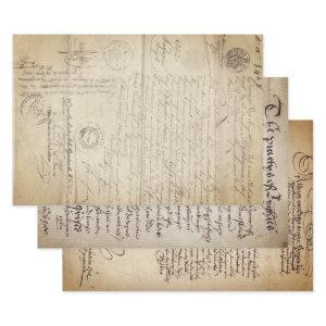 CENTURIES OLD DOCUMENTS HEAVY WEIGHT DECOUPAGE WRAPPING PAPER SHEETS