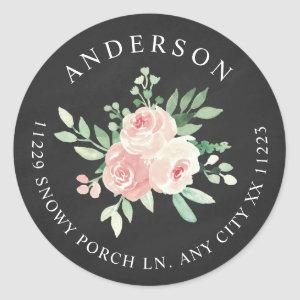 Chalkboard Blush Pink Floral return address Classic Round Sticker