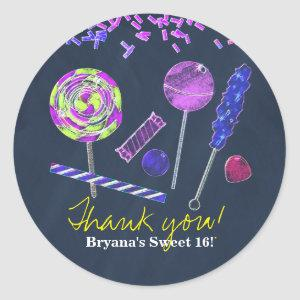 Chalkboard Candy Land Sweets Chalk Doodles Party Classic Round Sticker