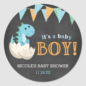 Chalkboard Dinosaur Boy Baby Shower Classic Round Sticker