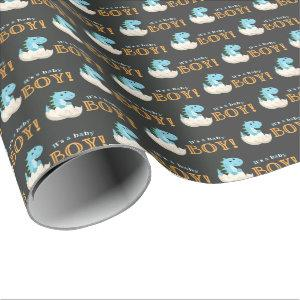 Chalkboard Dinosaur Boy Baby Shower Wrapping Paper