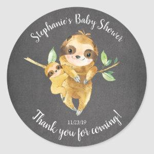 Chalkboard Sloth Baby Shower Favor Sticker