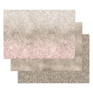 Champagne Gold Pink White Glitzy Glitter Wrapping Paper Sheets