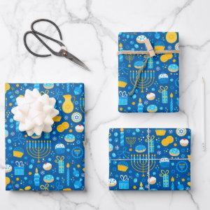 Chanukah Celebrating Gelt Jewish Stars Snowflakes Wrapping Paper Sheets