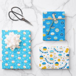 Chanukah Mixed Set of Jelly Doughnut Patterns Wrapping Paper Sheets