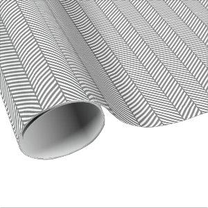 Charcoal Gray and White Herringbone Wrapping Paper