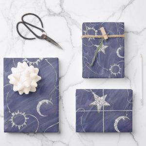 Charming Mystique | Silver Moon Stars Sun Amulet Wrapping Paper Sheets