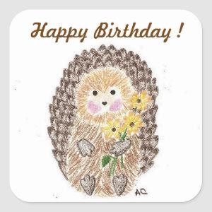 Cheerful hedgehog birthday stickers