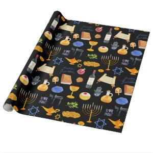 Cheerful Watercolor Hanukkah Illustrations Pattern Wrapping Paper