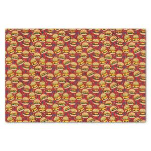 Cheese Burger Pattern on Red Tissue Paper
