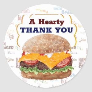 Cheeseburger BBQ Grill Fast Food Classic Round Sticker