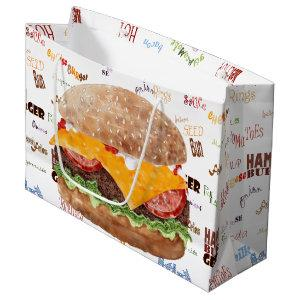 Cheeseburger BBQ Grill Fast Food Large Gift Bag