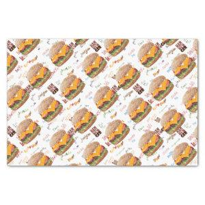Cheeseburger Fast Food BBQ Diner Tissue Paper