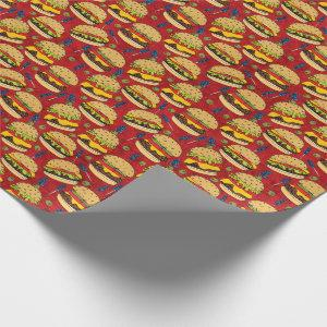 Cheeseburger Pattern Red Wrapping Paper