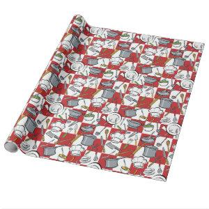 Chefs Tools Checkerboard Wrapping Paper