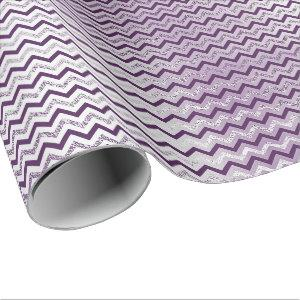 Chevron Glam Lux Metallic Purple Amethyst Plum Wrapping Paper