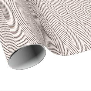 Chevron Line Wrapping Paper - Brown on White