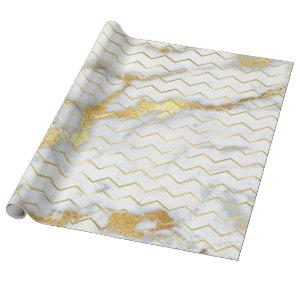 Chevron Stripes Gold Metallic Gray Marble Lines Wrapping Paper