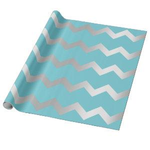 Chevron Stripes Lines Ocean Blue Grey Gray Silver Wrapping Paper