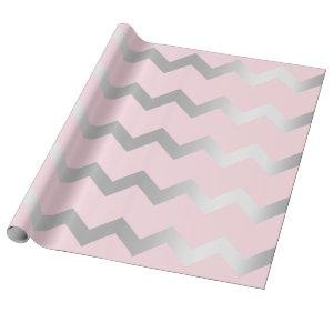 Chevron Stripes Lines Pink Grey Gray Silver Wrapping Paper