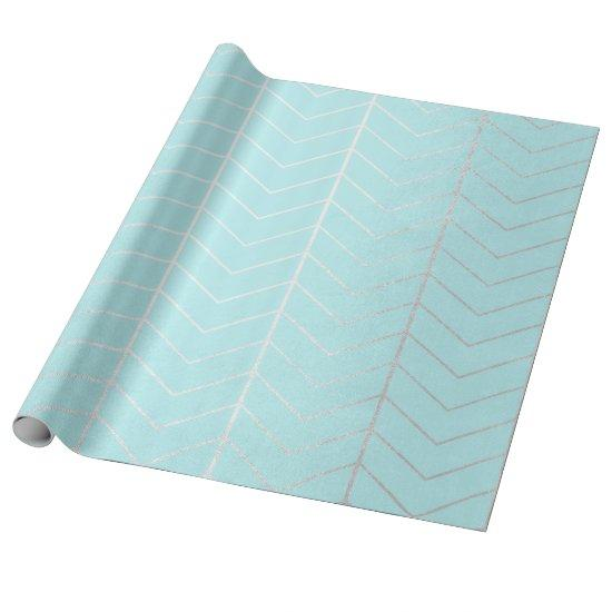 Chevron Tiffany Blue Ocean Beach Silver Herringbon Wrapping Paper