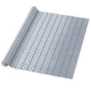 Chevron Tiffany Ocean Blue Gray Silver Navy VIP Wrapping Paper