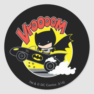 Chibi Batman In The Batmobile Classic Round Sticker