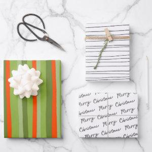 Chic Black White Red Green Modern Stripes Pattern Wrapping Paper Sheets