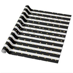 Chic Black & White Stripes With Gold Polka Dots Wrapping Paper
