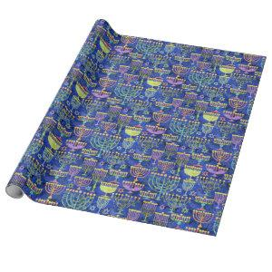 Chic Blue Gold Menorah Star of David Hanukkah Wrapping Paper