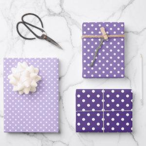 Chic Dark Purple Violet White Polka Dots Pattern Wrapping Paper Sheets