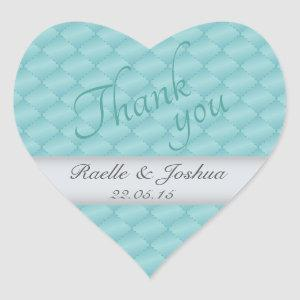 Chic elegant quilted teal silver Wedding Thank you Heart Sticker