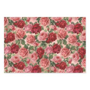 Chic Elegant Vintage Pink Red Roses Floral Wrapping Paper Sheets