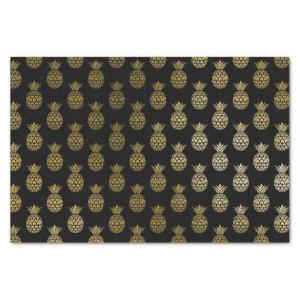 Chic Faux Gold and Black Tropical Pineapple Tissue Paper