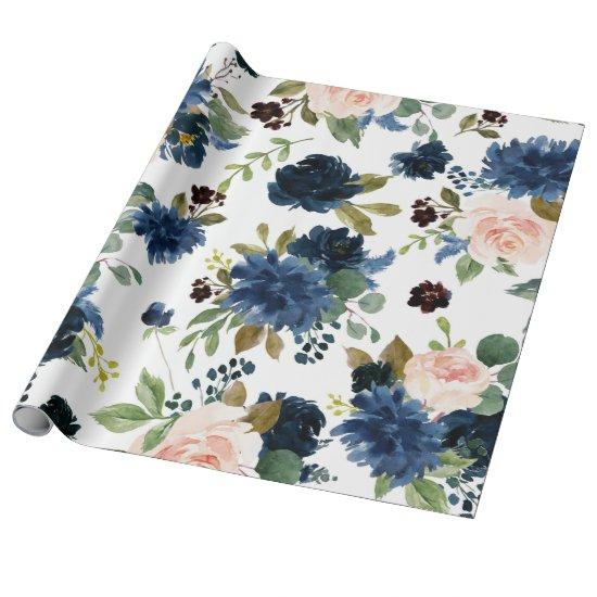 Chic Floral | Blush Pink Navy Blue Bouquet Pattern Wrapping Paper