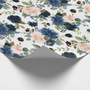 Chic Floral | Romantic Blush Navy Bouquet Wrapping Paper