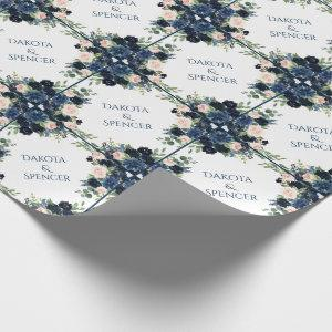 Chic Floral | Romantic Blush Navy Garland Wreath Wrapping Paper