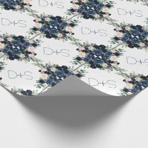Chic Floral | Romantic Blush Navy Monogram Wedding Wrapping Paper