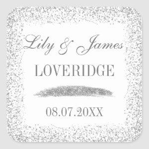 Chic Glam White & Gray Silver Glitter Wedding Square Sticker