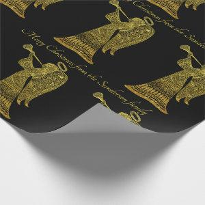 Chic Gold Angel  on Black Personalized Christmas Wrapping Paper