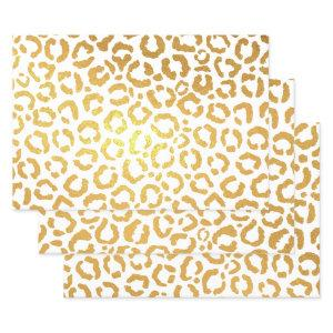 Chic Gold Foil Leopard Cheetah Animal Print Foil Wrapping Paper Sheets