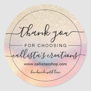Chic Gold Glitter Iridescent Holographic Thank You Classic Round Sticker