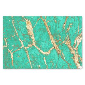 Chic Gold Turquoise Marble Pattern Tissue Paper
