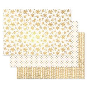 Chic Holly Leaves Polkadots Chevron Pine Needles Foil Wrapping Paper Sheets