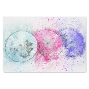 Chic Parasols For Her in Pink Purple and Teal Tissue Paper