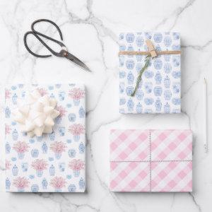 Chic Pink Blue White Ginger Jars Baby Girl Shower Wrapping Paper Sheets
