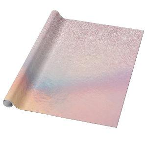 Chic Pink Glitter Iridescent Holographic Gradient Wrapping Paper