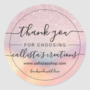 Chic Pink Glitter Iridescent Holographic Thank You Classic Round Sticker