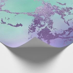 Chic Purple Blue Mermaid Watercolor Ombre Marble Wrapping Paper